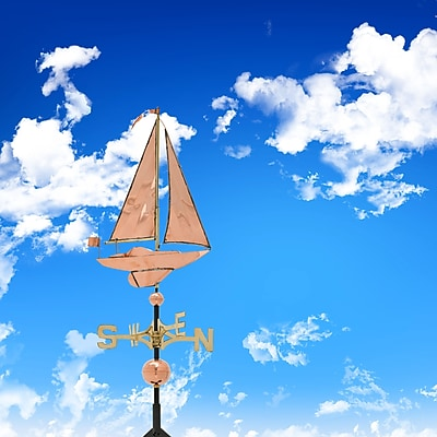 Whitehall Products Copper Sailboat Weathervane - Polished (45027)