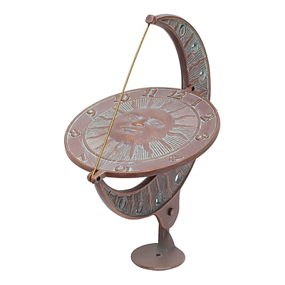 Whitehall Products Sun and Moon Sundial - Copper Verdigris (01273)