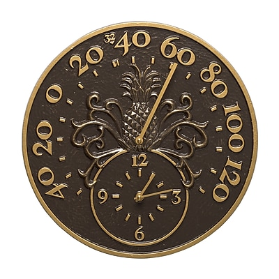 Whitehall Products Pineapple Thermometer Clock - French Bronze (01793)