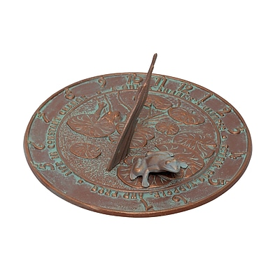 Whitehall Products Frog Sundial - Copper Verdigris (00493)