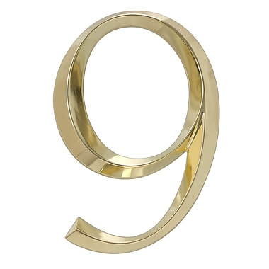 Whitehall Products Classic 6 Inch Number 9 Polished Brass (11109)