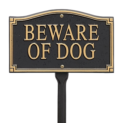 Whitehall Products Beware of Dog Statement Marker -Wall/Lawn - Black/Gold (01421)
