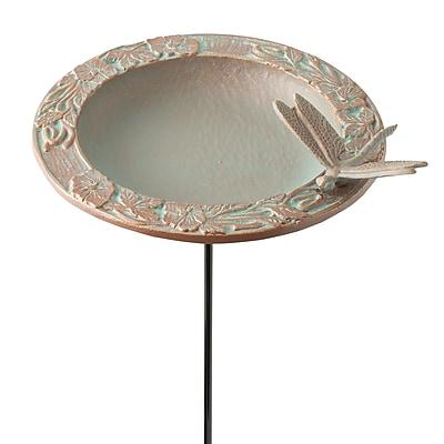 Whitehall Products Dragonfly Garden Bird Feeder - Copper Verdigris (30059)