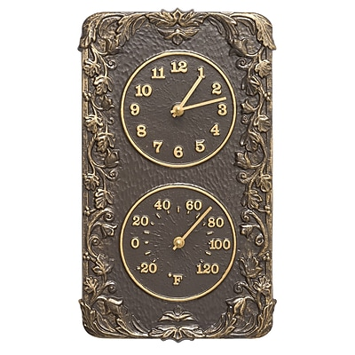 Whitehall Products Acanthus Combo Clock And Thermometer - French Bronze (1957)