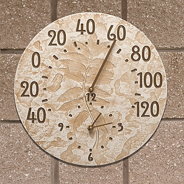 Whitehall Products Fossil Sumac Thermometer Clock - Weathered Limestone (01587)