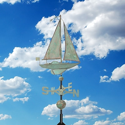 Whitehall Products Copper Sailboat Weathervane - Verdigris (45026)