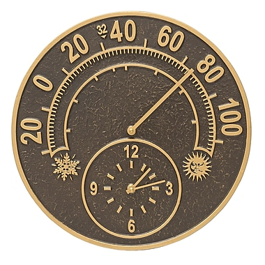 Whitehall Products Solstice Thermometer Clock - French Bronze (01288)