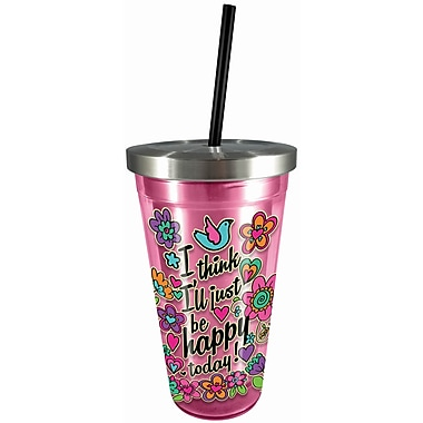 Spoontiques Happy Today 16oz Stainless Steel Cup with Straw (20521)