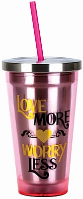 Spoontiques Love More 16oz Stainless Steel Cup with Straw (20510)