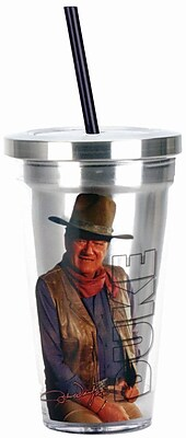 Spoontiques John Wayne™ 16oz Stainless Steel Cup with Straw (20506)