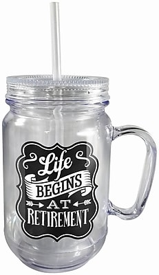 Spoontiques Retirement 18oz Acrylic Mason Jar (17877)