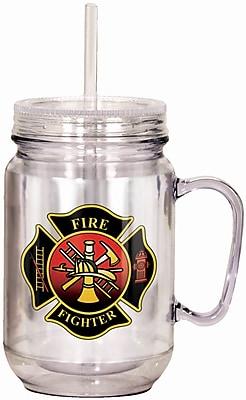 Spoontiques Firefighter 18oz Acrylic Mason Jar (17920)