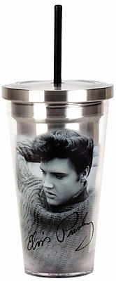 Spoontiques Elvis Presley™ 16oz Stainless Steel Cup with Straw (20502)