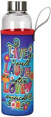 Spoontiques Live Laugh Love 20oz Glass Bottle with Sleeve (19914)