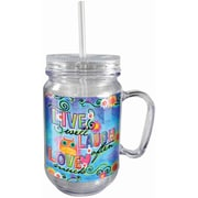 Spoontiques Live Laugh Love 18oz Acrylic Mason Jar (18041)