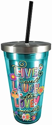 Spoontiques Live Laugh Love 16oz Stainless Steel Cup with Straw (20523)