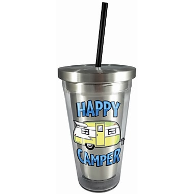 Spoontiques Happy Camper 16oz Stainless Steel Cup with Straw (20524)