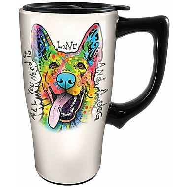 Spoontiques Dean Russo ™German Shepherd Ceramic Travel Mug (12772)