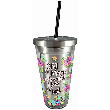 Spoontiques Mom 16oz Stainless Steel Cup with Straw (20520)