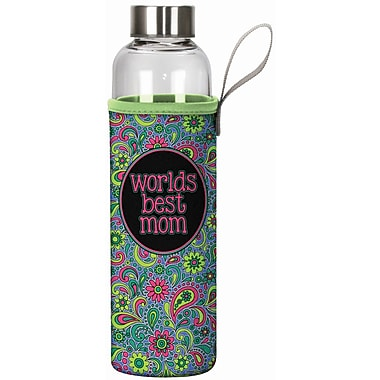 Spoontiques World's Best Mom 20oz Glass Bottle with Sleeve (19917)