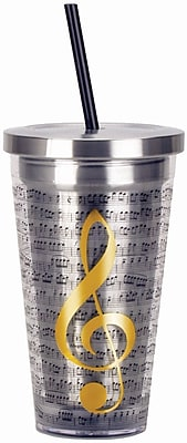 Spoontiques Music 16oz Stainless Steel Cup with Straw (20514)