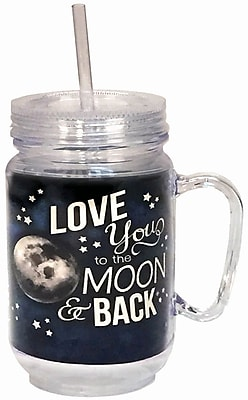 Spoontiques Moon & Back 18oz Acrylic Mason Jar (17879)