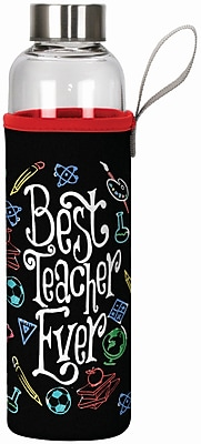 Spoontiques Best Teacher Ever 20oz Glass Bottle with Sleeve (19910)