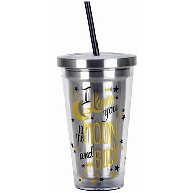 Spoontiques Moon and Back 16oz Stainless Steel Cup with Straw (20513)