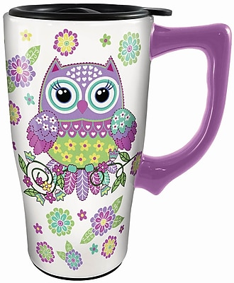 Spoontiques Owl Ceramic Travel Mug (12778)