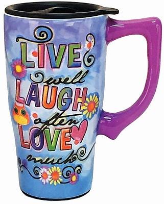 Spoontiques Live Laugh Love Ceramic Travel Mug (12740)