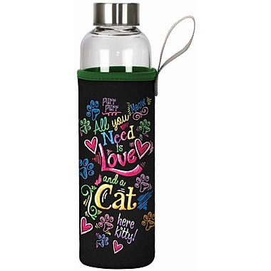 Spoontiques All You Need Cat 20oz Glass Bottle with Sleeve (19900)