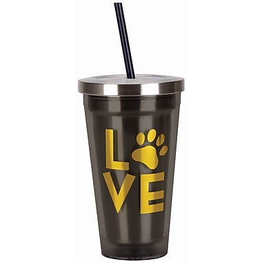 Spoontiques Love (Paw) 16oz Stainless Steel Cup with Straw (20512)