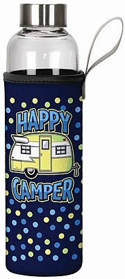 Spoontiques Happy Camper 20oz Glass Bottle with Sleeve (19907)