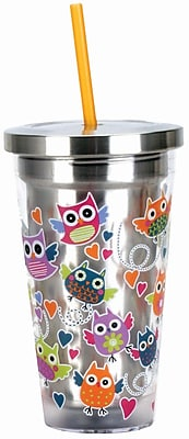 Spoontiques Owls 16oz Stainless Steel Cup with Straw (20509)