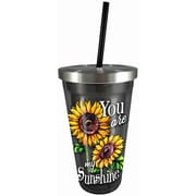 Spoontiques You Are My Sunshine 16oz Stainless Steel Cup with Straw (20521)