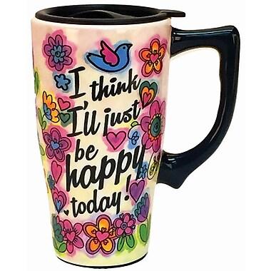 Spoontiques Happy Today Ceramic Travel Mug (12739)
