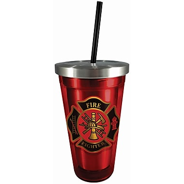 Spoontiques Firefighter 16oz Stainless Steel Cup with Straw (20525)