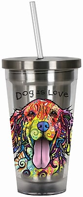 Spoontiques Dean Russo™ Dog 16 oz. Stainless Steel Cup with Straw (20519)