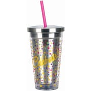 Spoontiques Celebrate 16oz Stainless Steel Cup with Straw (20511)