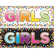"""Ashley Productions Laminated Double-Sided Hall Passes, 9"""" x 3.5"""", Confetti Girls Pass, Pack of 10 (ASH10747BN)"""
