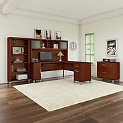 Bush Furniture Somerset 72W L Shaped Desk with Hutch, Lateral File Cabinet and Bookcase, Hansen Cherry (SET012HC)