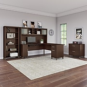 Bush Furniture Somerset 72W L Shaped Desk with Hutch, Lateral File Cabinet and Bookcase, Mocha Cherry (SET012MR)