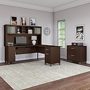 Bush Furniture Somerset 72W L Shaped Desk with Hutch and Lateral File Cabinet, Mocha Cherry (SET009MR)
