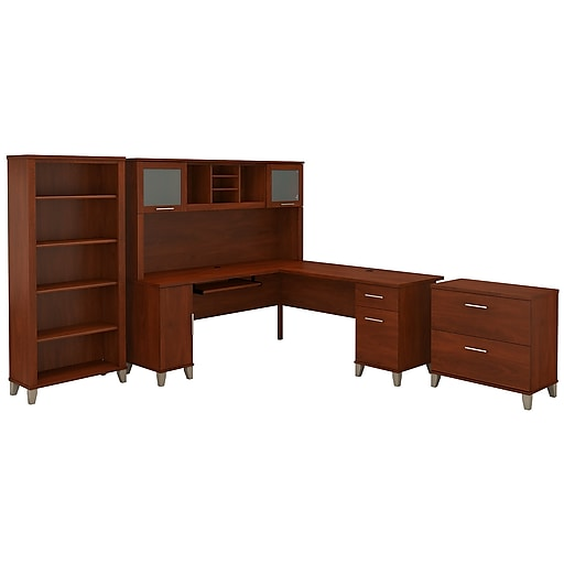 Bush Furniture Somerset 72w L Shaped Desk With Hutch Lateral File Cabinet And Bookcase Hansen Cherry Set012hc At Staples