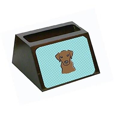 Carolines Treasures Checkerboard Blue Chocolate Labrador Business Card Holder(CRLT65450)