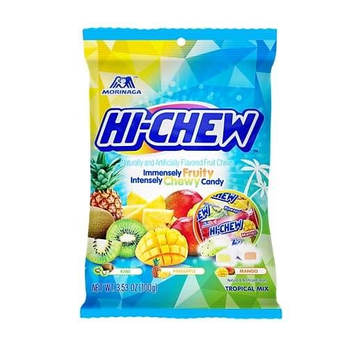 Hi-Chew Fruit Chews Tropical Peg Bag 3.53 oz, 6 Count (MOR00434)