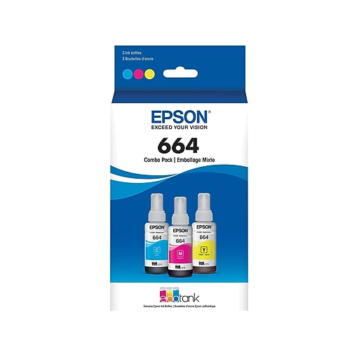Epson 664 ecotank Cyan, Magenta and Yellow Ink Bottles, Ultra High Yield,  3/Pack