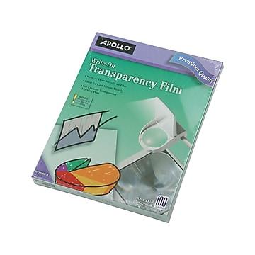 "Apollo Write-On Uncoated Transparency Film, 8.5"" x 11"", 100/Box (W0100C-B)"