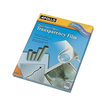 """Apollo Uncoated Transparency Film, 8.5"""" x 11"""", 100/Box (PP100CE)"""