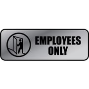 "Cosco Employees Only Indoor Wall Sign, 9.2""L x 3.5""H, Gray/Black (098206)"